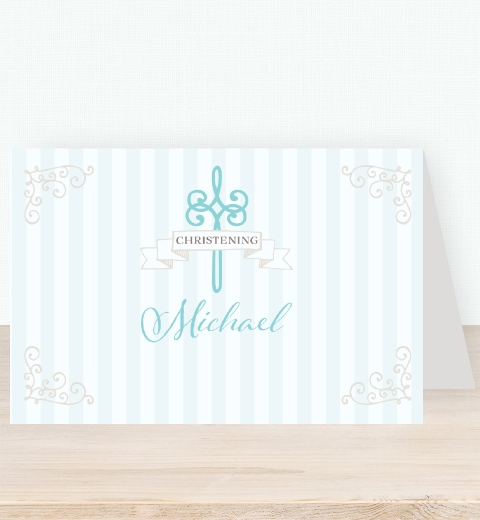 Striped Baptism - Blue Tent Card