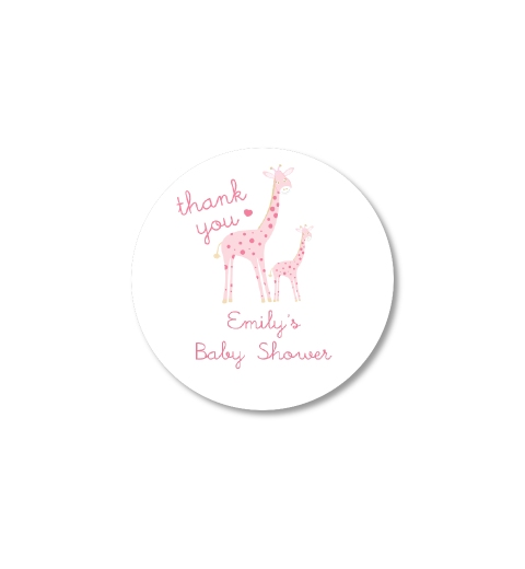 Mama bubba giraffe in pink thank you sticker