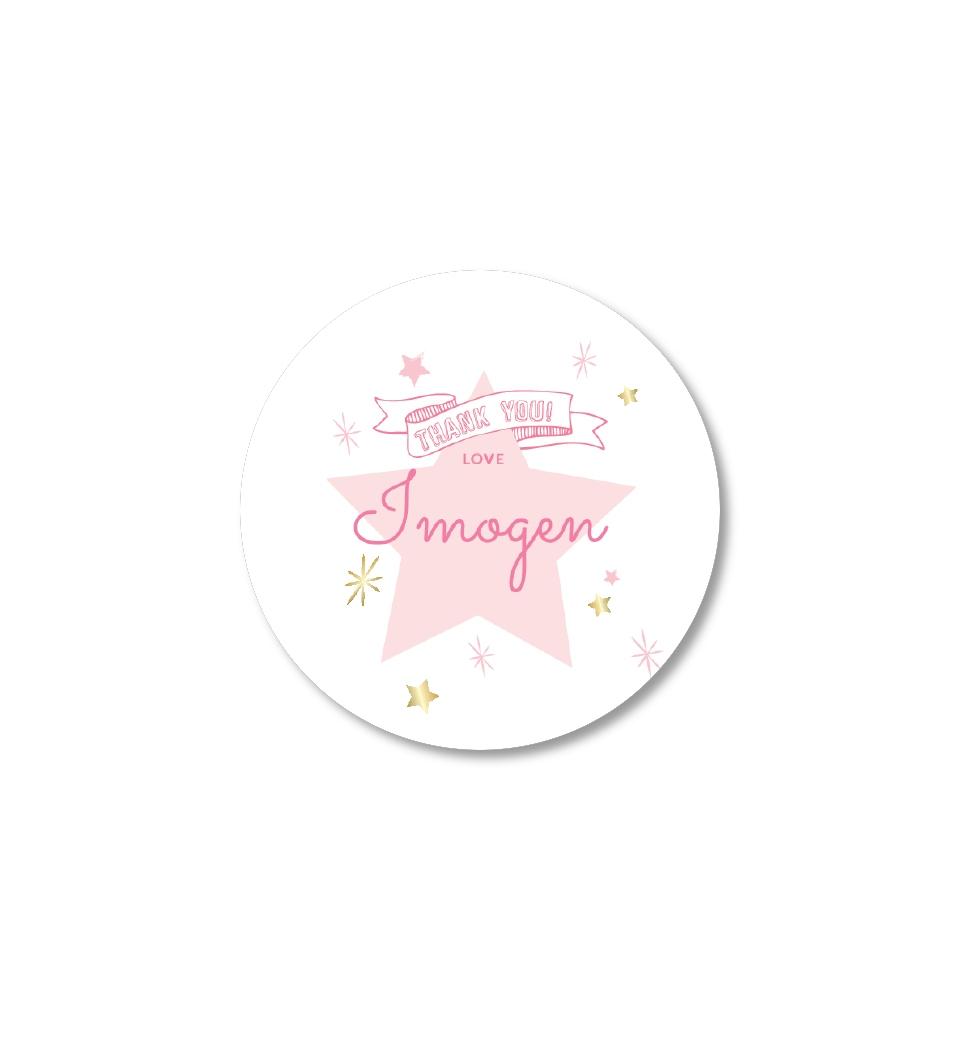 twinkle twinkle little star -pink thank-you sticker | love jk