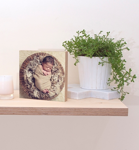 15 x 15cm Wooden Photo Block