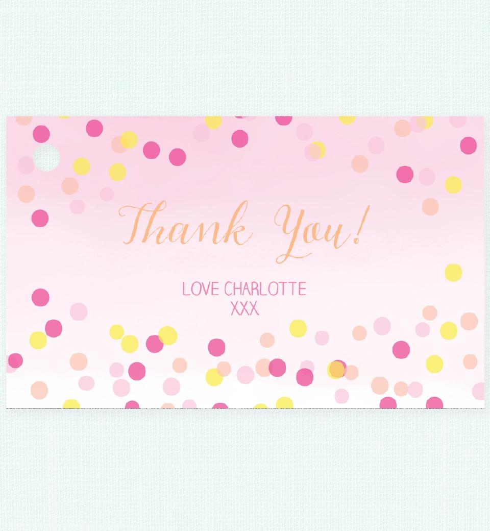 pink confetti thank you tag love jk