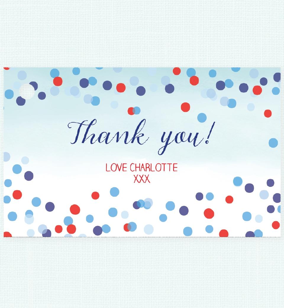 blue confetti thank you tag love jk