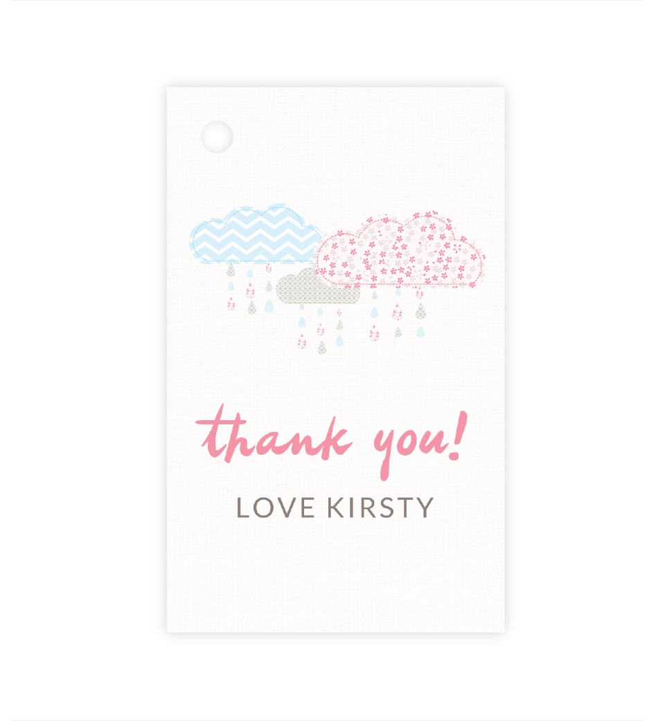 It S Raining Baby Shower In Baby Pink Blue Thank You Tag Love Jk