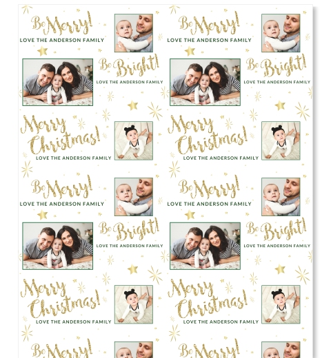Golden Merry & Bright Wrapping Paper