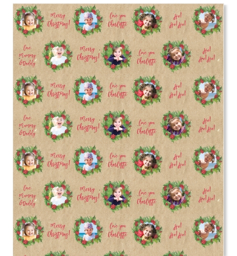 Christmas Wreath Wrapping Paper