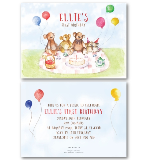 Teddy BearS Picnic Invitation  Love Jk
