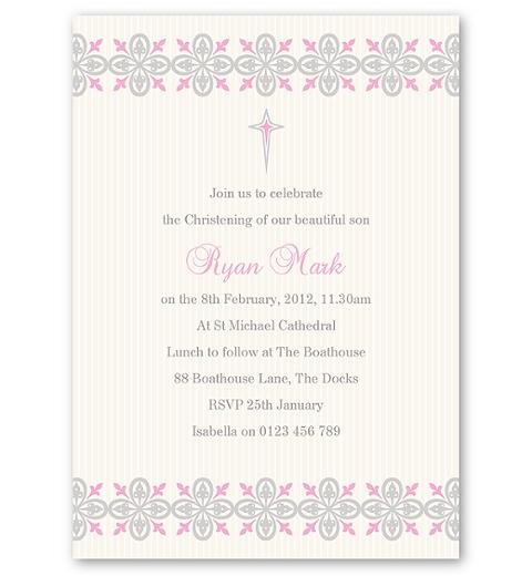 Printer's Ornaments Christening Invitation - Girl