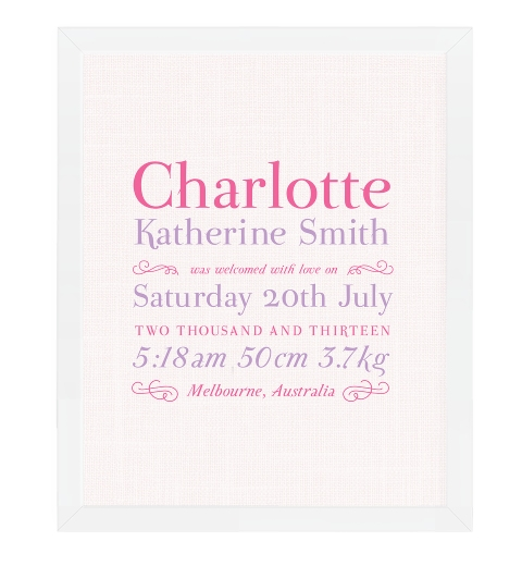 Linen Typographic Birth Print - Pink & Purple