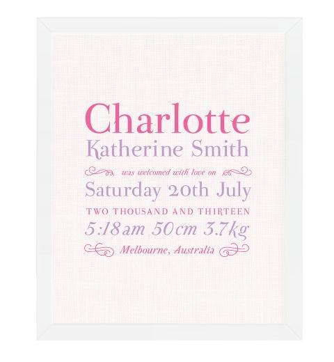 Linen Typographic Birth Print - Pink & Purple
