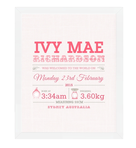Measuring Baby Birth Print - Pink & Taupe