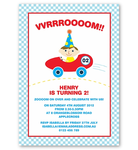 Racing Car Personalised Birthday Invitations
