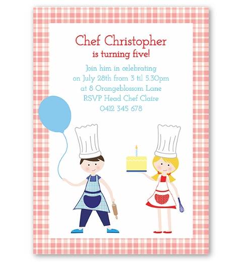 Little Chefs Birthday Invitation