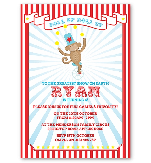 Circus Monkey Birthday Invitation for Boys
