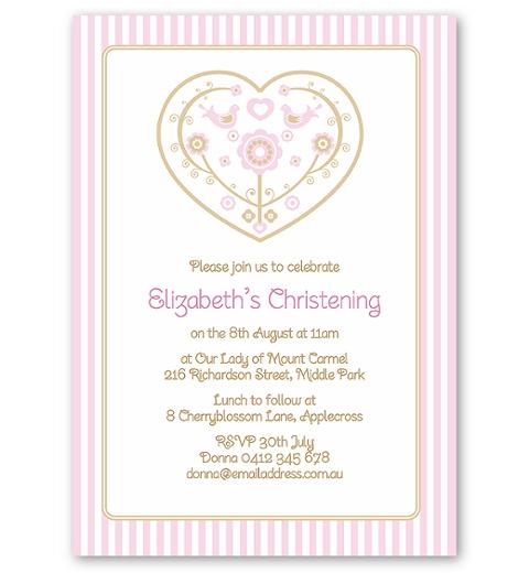 Skandi Birdies Baptism Invitation - Baby Pink & Taupe