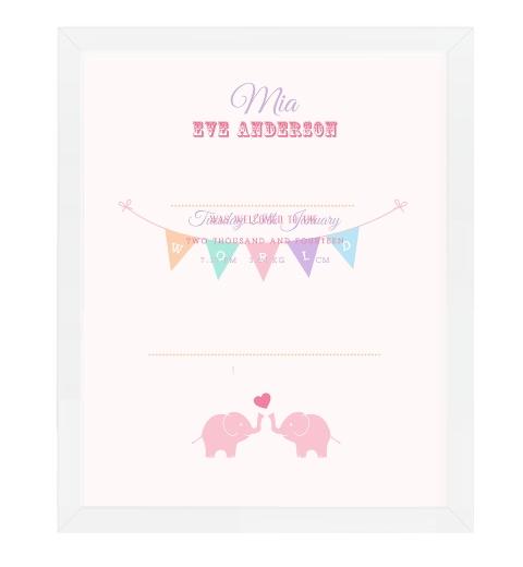 Little Elephants Birth Print - Pastel