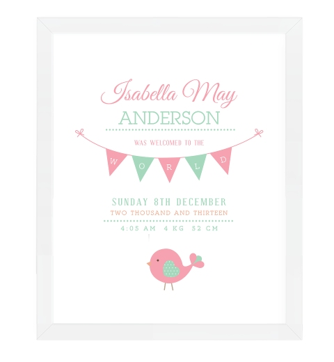 Birdies Birth Print In Pink and Peapod