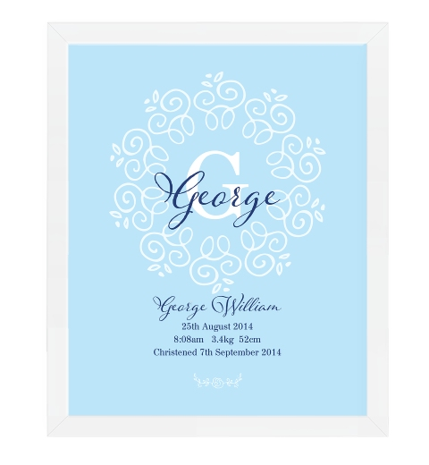 Decorative Monogram Birth Print in Blue