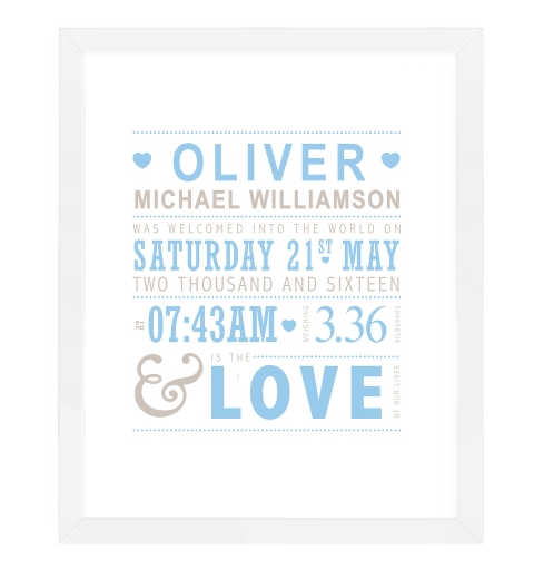 Love Baby Blue Birth Print