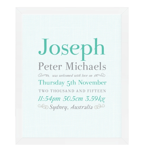 Linen Typographic Birth Print - Aqua & Grey