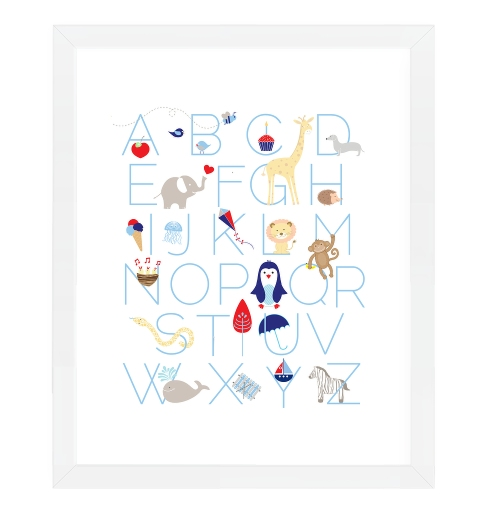Nursery Alphabet Print - Blue & Red