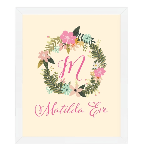 Floral Wreath Name Print Spring Flowers