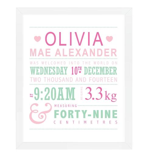 Typographic Birth Print - Pink & Mint