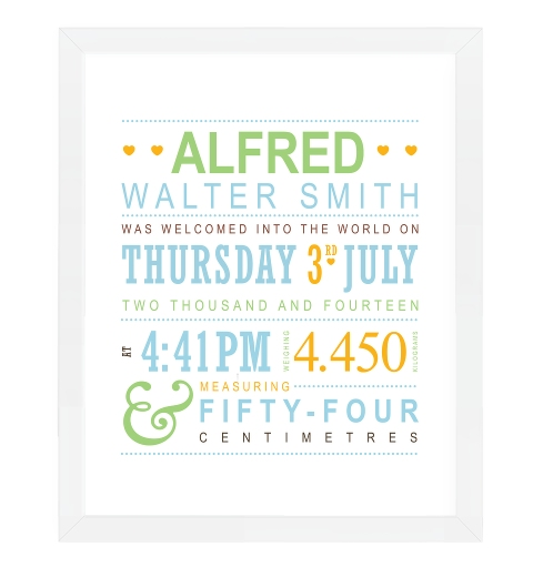 Typographic Birth Print - Baby Blue & Mint