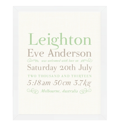 Linen Typographic Birth Print - Mint & Taupe