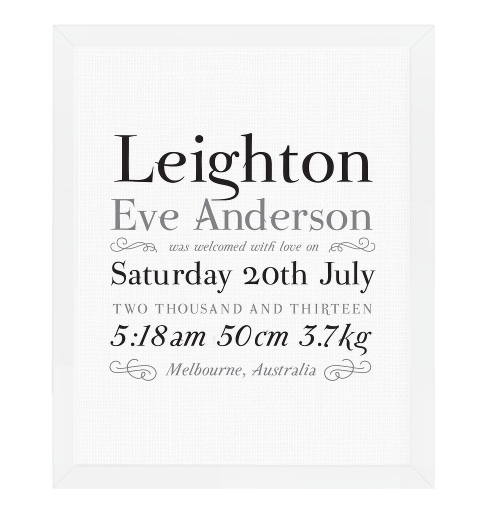 Linen Typographic Birth Print - Monochrome
