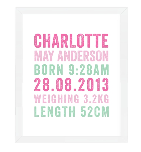 Letterpress Birth Print in Pink & Mint