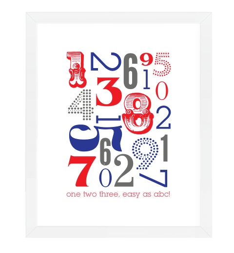 Typographic Number Print ~ Navy & Red
