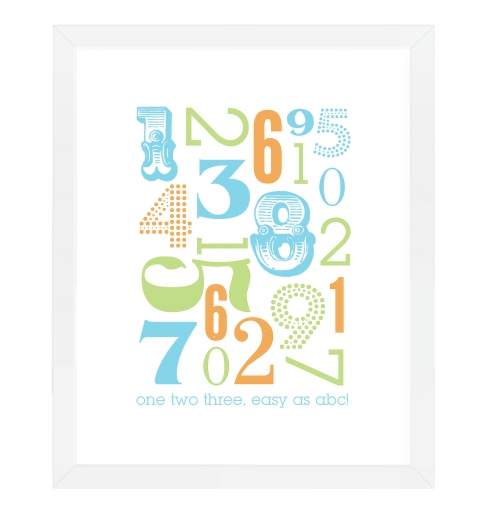 Typographic Number Print ~ Cyan, Apple Green & Orange