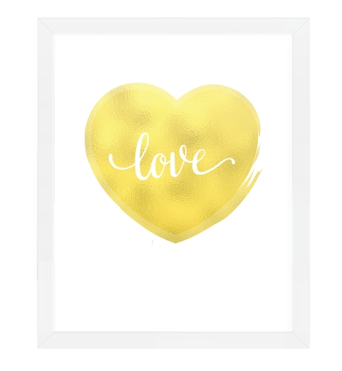 Gold Heart On White