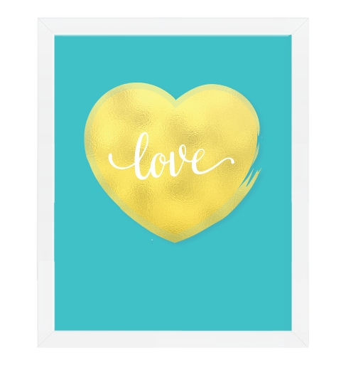 Gold Heart On Aqua