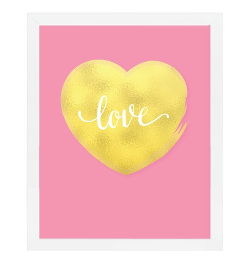 Gold Heart On Pink