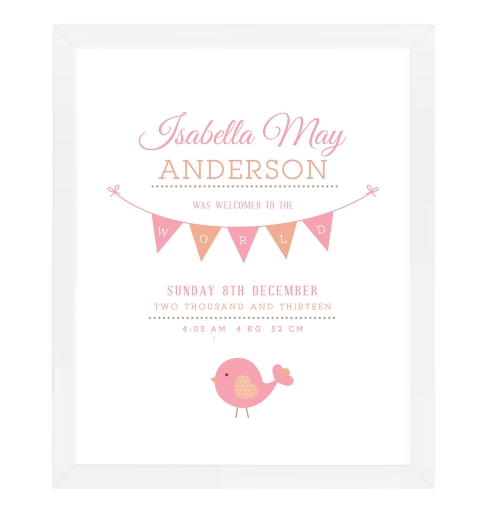 Birdies Birth Print In Blush, Peach and Taupe
