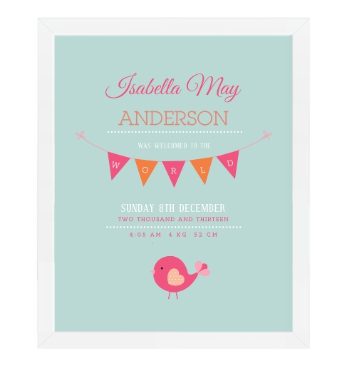 Birdies Birth Print In Fuschia and Orange