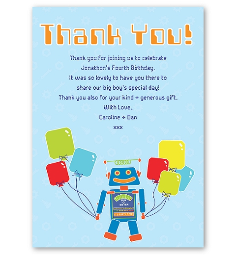Robot Flat Thank you Card