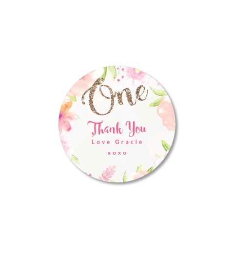 Golden floral first birthday thank you sticker