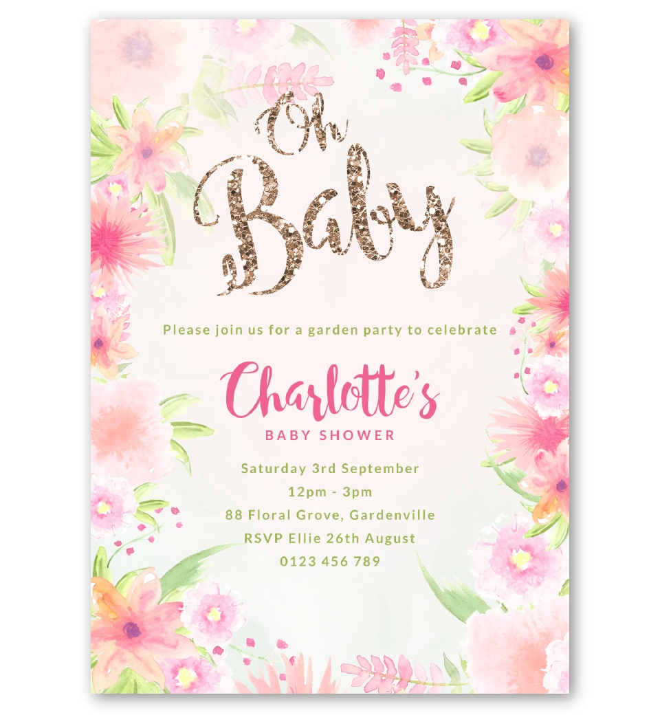 Baby Shower For One ~ Golden floral baby shower invitation love jk