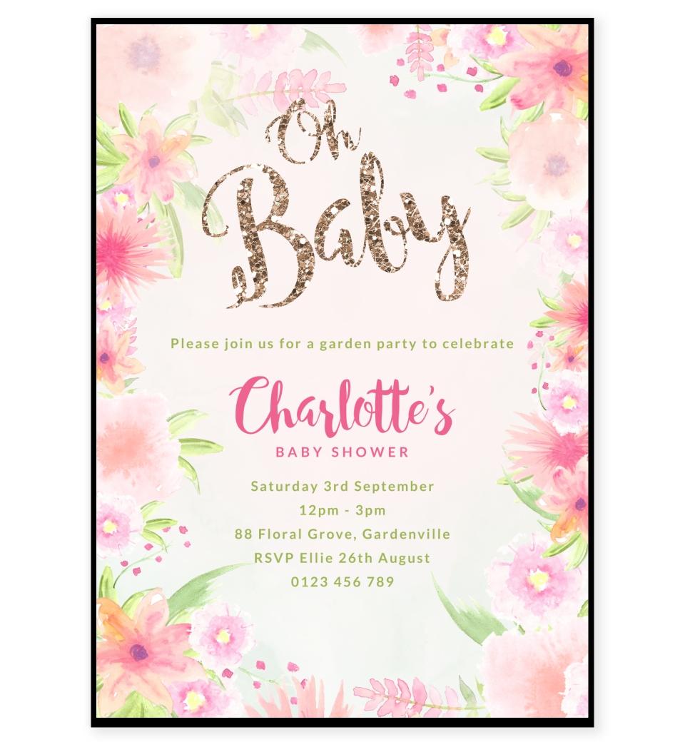 Golden Floral Baby Shower Invitation | Love JK