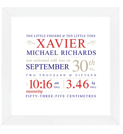 Fleuron Typographic Birth Print - Navy & Red