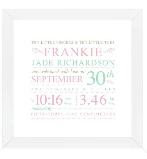 Fleuron Typographic Birth Print - Pink & Mint