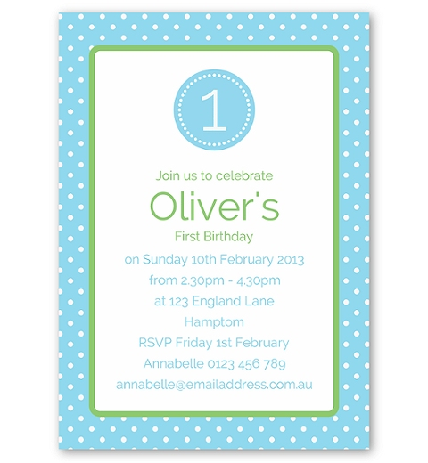 Blue Polka Dot Invitation