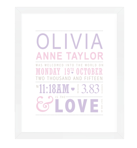 Love Birth Print - Lilac & Pink