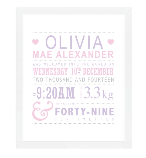 Lilac & Pink Typographic Birth Print