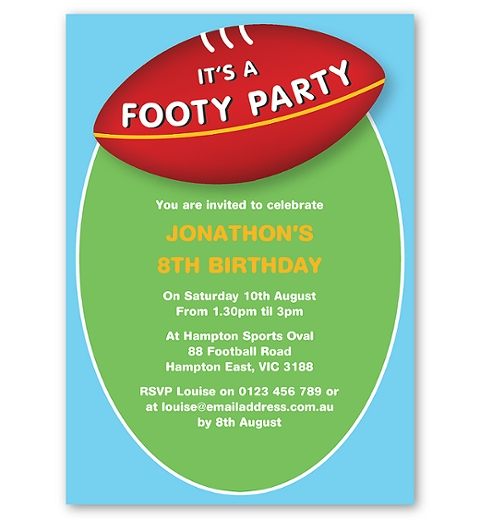 Aussie Rules Birthday Invitation