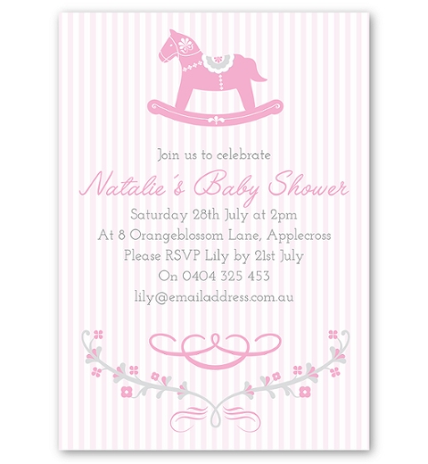 Rocking Horse Pink Invitation