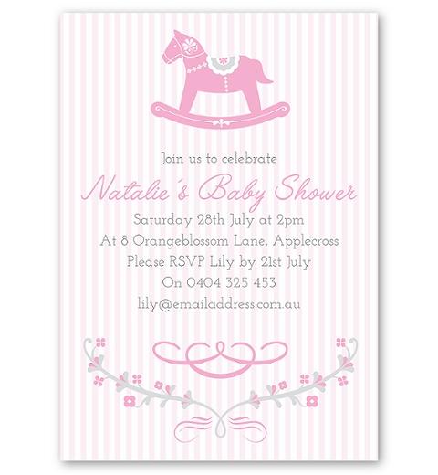 Rocking Horse Pink Invitation