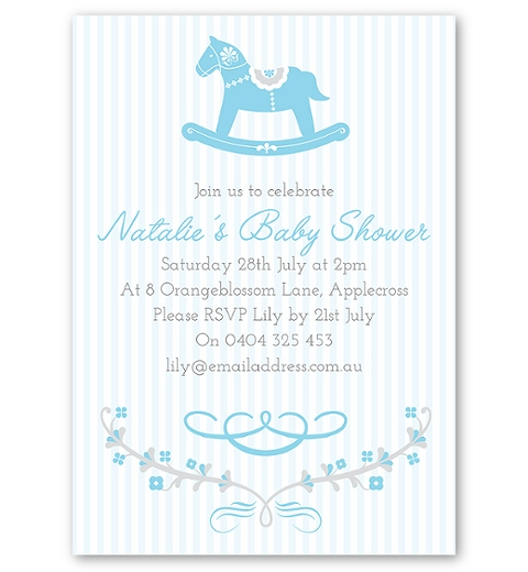 Rocking Horse Blue Invitation